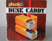 In original box! Vintage 1970s plastic Desk Caddy Organizer in brown beige. Pen Pencil Holder. Storage. Retro Office supplies. Pop Art Mod