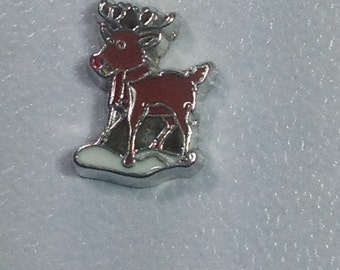 Rudolph red nosed reindeer floating charm