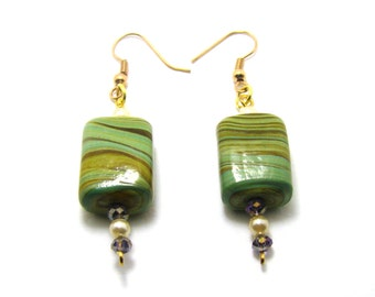 Earrings, lampwork oak, OOAK