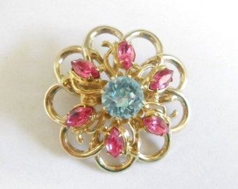 Vintage Coro Hot Pink Sky Blue Rhinestones Flower Brooch 3D Design Signed Ideal Scarf Accessory or Bag Adornment