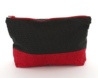 Makeup Toiletries Bags, Set of 2 Zipper Pouches, Travel Pouch, Polka Dot and Red Fabric, Catch All Bags, Diaper Bag Organizers, Multi Size