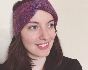 Purple and lavender headband, handmade knit purple and brown turban, wool twist ribbed earwarmer