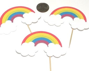 Rainbows -  Cupcake Toppers, 12 Count Assortment