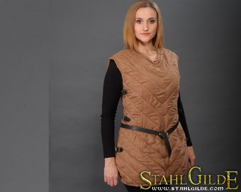 Larp Medieval Fantasy female gambeson for female armor (2 layers) without sleeves