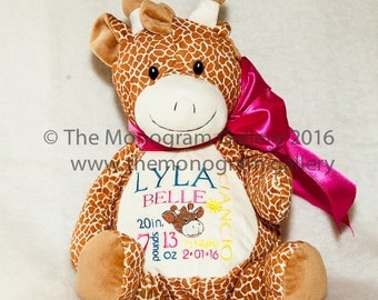 Personally Embroidered GIRAFFE EMBROIDER BUDDY! Birth Announcement, Monogram, Special Message or Name on Darling 16 inch animals! Too cute!!