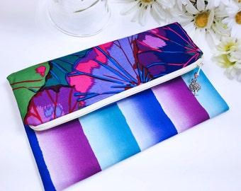 Bold Stripe Foldover Clutch, Super Mod Flower Foldover Clutch