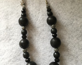 Black Chunky Beaded Necklace