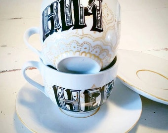Stunning hand painted Vintage styled cups and saucers - Him and Her - perfect Christmas gift