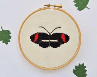 Butterfly cross stitch pattern. Postman Butterfly. small cross stitch. butterfly cross stitch chart. cross stitch butterfly. PDF chart.