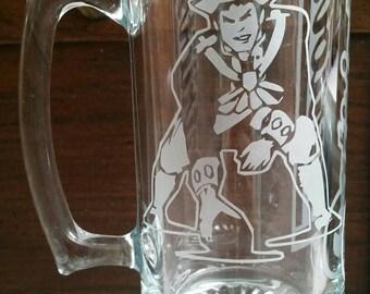 Retro Patriots Sand Carved Glass Mug