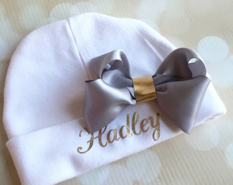 Personalized Newborn Baby Hat - Baby Hat with Bow - Gold and Grey - Take Home Hat