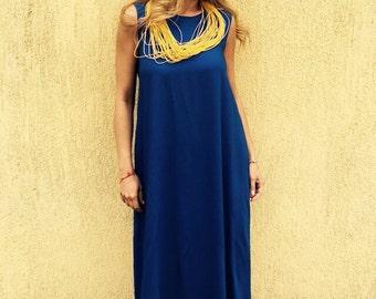Dress/dark blue dress/long dress/party dress/cotton dress