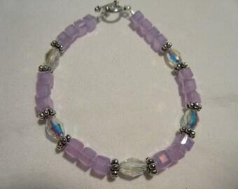 Dainty Lavender Frosted Czech Glass Cube and Swarovski Oval Glass Beaded Bracelet