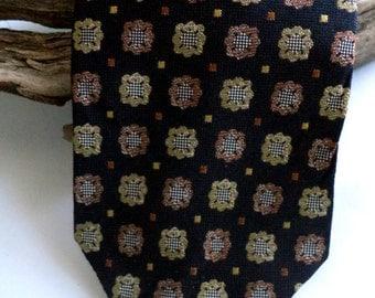70S VALENTINO classic Tie Royal Regalia Dark Blue Bronze Gold Cameo  Woven Silk Vintage Jewel tone Cravatte Italy Designer mens Necktie Mint