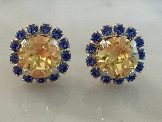 Swarovski Jonquil Earrings, Jonquil Crystal Earrings, Swarovski Sapphire Earrings, Bridesmaid Earrings