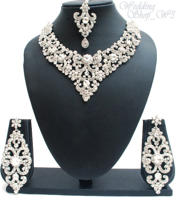 Elegant Bridal Set Heavy Gold Plated Diamante Crystal: Elegant Bridal Set Heavy Silver Plated Diamante Crystal