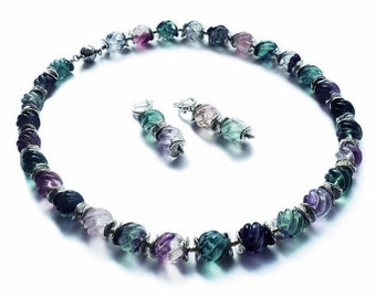 """Beads and earrings with fluorite """"AROMA of the LILAC"""""""