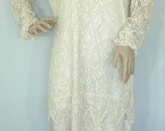 75% OFF Feb 9 - 11 70s Beaded dress, Cream Beaded Dress, Lace & Beads dress, Holiday Dress, Vintage 1970 Party dress, Alternative Wedding dr