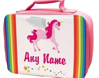 Personalised Pinky Unicorns Lunch Bag - school - kids - children -girls