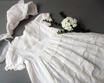 1800s Christening Gown Bonnet Antique French