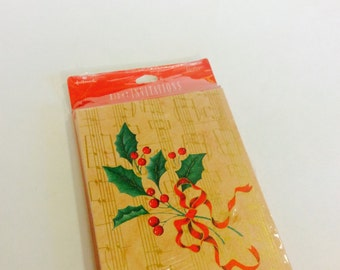 """Holly Hallmark Christmas Party Invitations """"Celebrate the Season With Us"""" Holiday Invites New Old Unused 8 Count Cards Mistletoe Musical"""