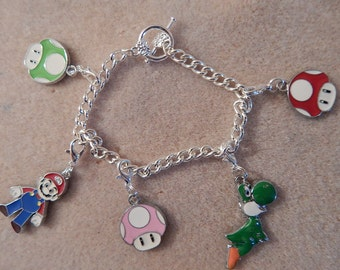 Charm Bracelet Mario Toad Yoshi Silver Plated 7.5 Inches