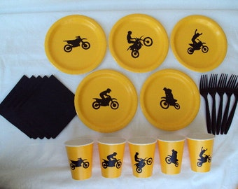 Motocross Party Tableware Set for 5 People