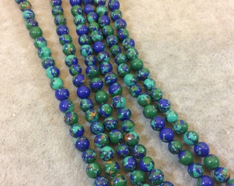 "4mm Smooth Synthetic Malachite/Azurite Round/Ball Shaped Beads - 15.25"" Strand (Approximately 95 Beads) - Manmade/Faux Gemstone Beads"