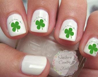 20 pc St Patrick's Day  4 Leaf Clover Shamrock  Nail Art Decals