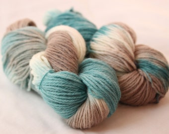 Hand Dyed Worsted Weight Peruvian Highland Wool Yarn -  Teal, Gray, and White