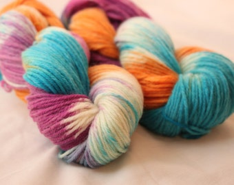 Hand Dyed Worsted Weight Peruvian Highland Wool Yarn -  Bright Blue, Orange, and Purple