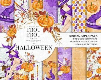 Halloween Scrapbook Halloween Paper Pack Autum Fall Background Witch Hat Pumpkin Broom Broomstick Watercolor Digital Seamless Patterns
