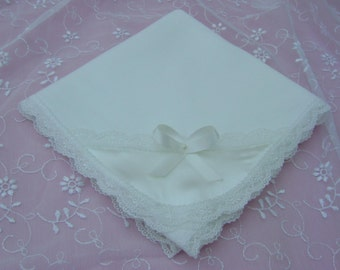 A Soft Ivory Baby/Receiving Blanket  Cotton Knit.