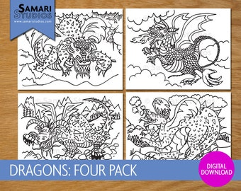 Dragon 4 Pack - Hand Drawn Printable Coloring Sheet - Kids Coloring Page - Instant Download - Printable