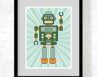Robot Prints / Robot Poster / Retro Robot / Large Art Print
