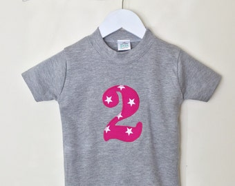 2nd Birthday Tshirt with stars, second birthday T shirt, birthday age T shirt by Two little peas and me