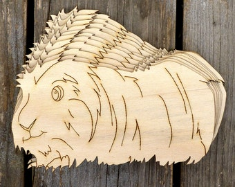 10x Wooden Guinea Pig Long Haired Craft Shapes 3mm Plywood Pet Animal Rodent