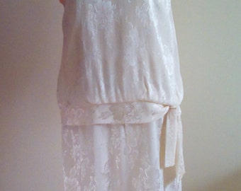 Vintage Cream Dress with Pearl/Beaded Collar.