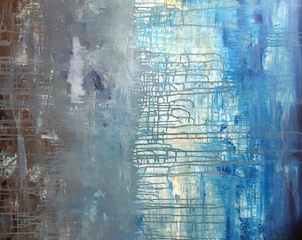 """Original 48"""" x 36"""" - """"Times are Changing"""", Enormous Painting - Abstract artwork Painted in the USA , South Carolina Christy Che"""