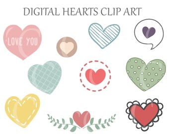 Digital Hearts Clipart Valentine Love Printable Instant Download PNG Scrapbooking Sticker Invitation Cards Commercial use