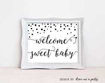 Modern Baby Shower , Welcome Baby Sign , Black and White Baby Shower Decor , Modern Shower Welcome Sign , Welcome Baby , Printable