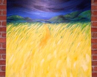 "48"" x 48"" Acyrilc Landscape on Canvas 'Mountain Path'"