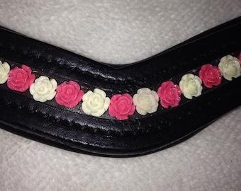 Beautiful custom flower dressage browbands