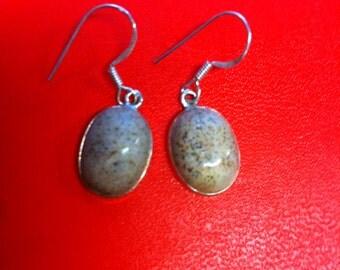 Beautiful solid sterling silver dangle dangly gemstone earrings earrings