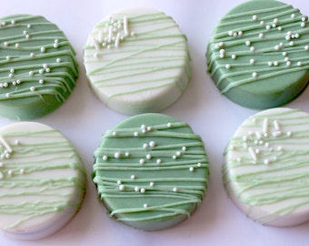 Green and white  Chocolate Covered Oreos 12 pcs.