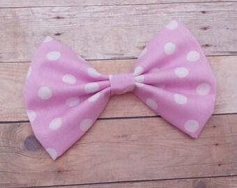 Light Pink & White Polka Dot Hair Bow Clip / Polka Dot Hair Bow / Light Pink Hair Bow / Pink Bow / Minnie Mouse Hair Bow / Minnie Hair Bow