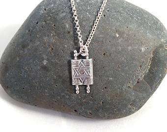 Sterling Torah Charm Necklace, Bar or Bat Mitzvah Necklace Gift, Sterling Torah Necklace, Jewish Jewelry, Judaica Jewelry