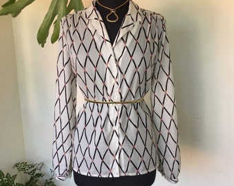 CLEARANCE! 80s vintage blouse crisscross diagonal hatch pattern beige buff dusty rose pink button through long sleeve cuff