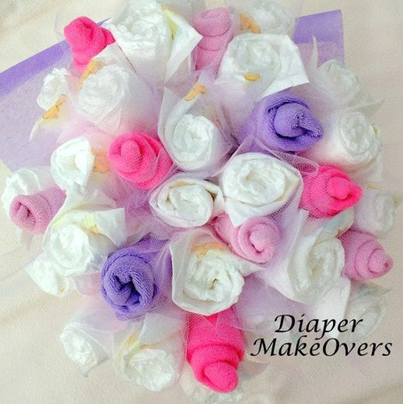 Pink and purple diaper bouquet baby shower decorations new for Pink diaper bouquet