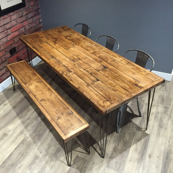 Reclaimed industrial pallet wood dining table with metal for How to make a pallet kitchen table